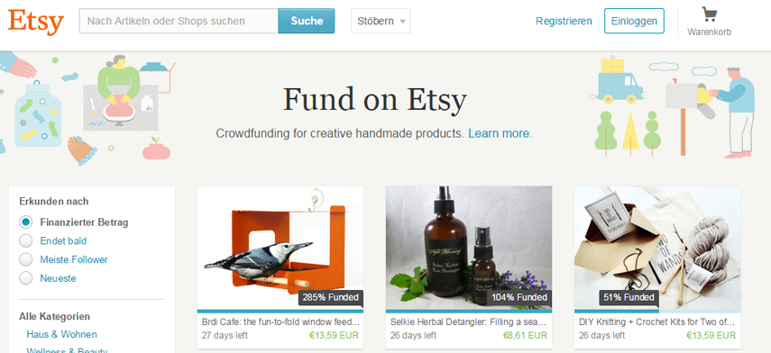 Fund on Etsy: Etsy implementiert Crowdfunding